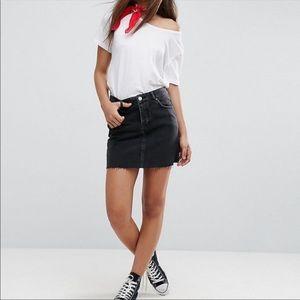 ASOS Brave Soul London black raw edge denim skirt